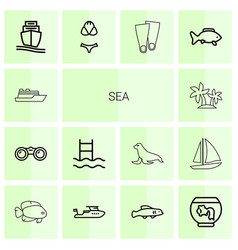 14 sea icons vector image