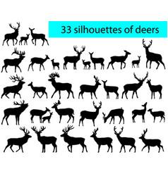 33 silhouettes deers vector