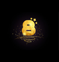 8 eight number icon design with golden star and vector image