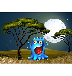 A monster near the tree under the bright fullmoon vector image