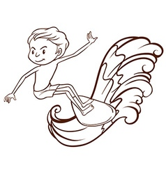 A simple sketch of a boy doing water sport vector image