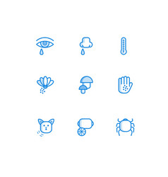 allergy outline icons set with symptoms of disease vector image