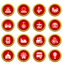amusement park icons set simple style vector image