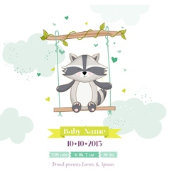 Baby Shower or Arrival Card - Baby Racoon vector