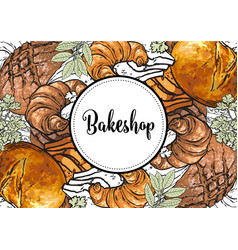 bakeshop banner or cover with sign on white round vector image