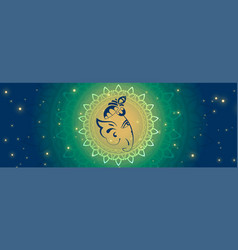 Beautiful lord ganesha face on glowing banner vector