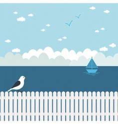 Blue seascape vector