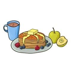 Breakfast pancakes with berries coffee vector