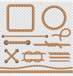 brown rope realistic ropes marine cord nautical vector image