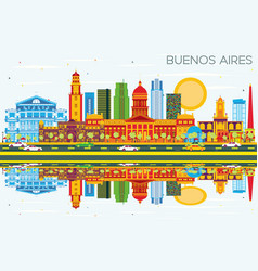 Buenos aires skyline with color landmarks blue vector