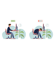 Burnout professional syndrome tired man vector