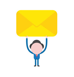 businessman character holding up closed envelope vector image