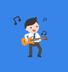 businessman play guitar flat design vector image