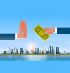 businessman refusing offered bribe offers money vector image