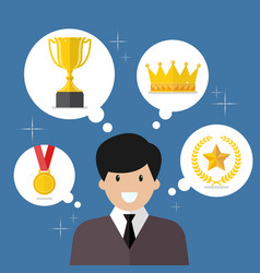 businessman think about achievements vector image