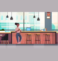 businesswoman sitting on chair at bar counter with vector image