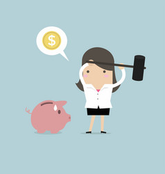 businesswoman try to brake piggybank vector image