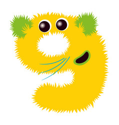 Cartoon cute yellow and green monster number nine vector