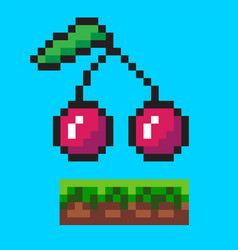 cherry on ground pixelated icons pixel game vector image
