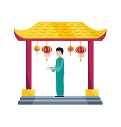 Chinese portal with man avatar character vector