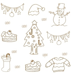 Christmas doodle set flat vector
