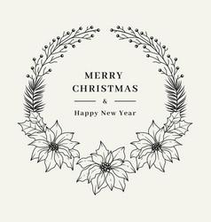 christmas floral wreath elegant christmas frame vector image