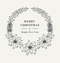 christmas floral wreath elegant frame vector image