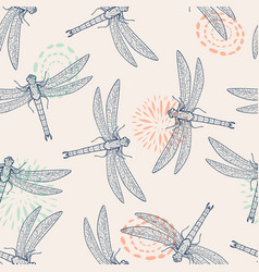 Colorful seamless pattern with dragonfly vector
