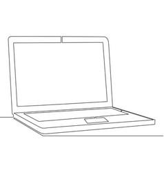 Continuous one single line laptop concept vector
