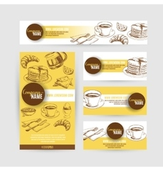 Corporate identity breakfast business set design vector image