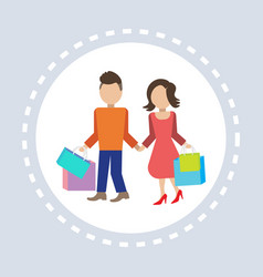 couple man woman hold colorful packages paper bags vector image