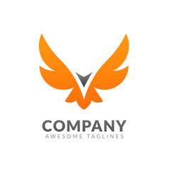 creative simple winged eagle logo vector image