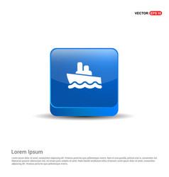 cruise icon - 3d blue button vector image