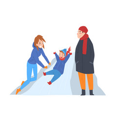 cute boy riding on ice hill winter outdoor vector image