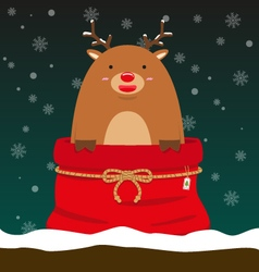 Cute fat big reindeer come out of christmas bag vector