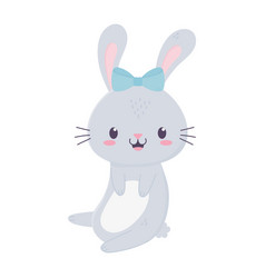 cute girl rabbit with bow animal cartoon isolated vector image