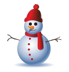 Cute snowman on white background vector