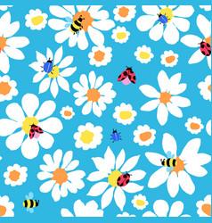 Daisy allover with bugs vector