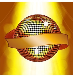 Disco ball with banner on glowing background vector image