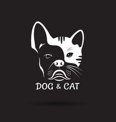 dog face bulldog and cat face design on a black vector image