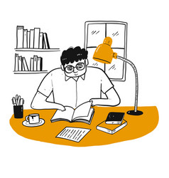 Drawing character people reading a book vector