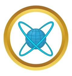 Earth around orbits icon vector