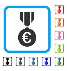 Euro honor medal framed icon vector