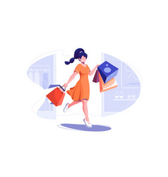 Fashionable woman holding packages with clothes vector