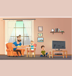 Father sitting at home with childrens vector