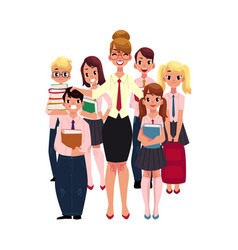 female teacher surrounded by students pupils vector image