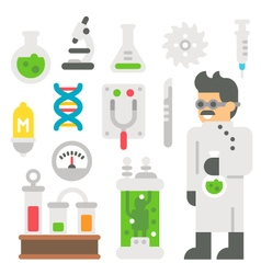Flat design mad scientist item set vector image