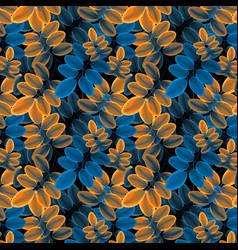 foliage pattern golden orange and blue vector image