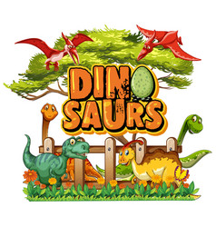 Font design for word dinosaurs with many vector