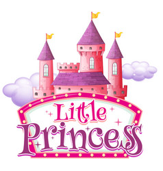 Font design for word little princess with pink vector